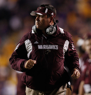BATON ROUGE, LA - NOVEMBER 13:  Head coach Todd Berry of the University of Louisiana-Monroe Warhawks watches a play during the game against the Louisiana State University Tigers at Tiger Stadium on November 13, 2010 in Baton Rouge, Louisiana.   The Tigers
