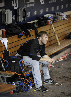 SAN DIEGO, CA - AUGUST 16: Jason Bay #44 of the New York Mets sits in the dugout after the San Diego Padres beat the Mets 6-1 in a baseball game Padres at Petco Park on August 16, 2011 in San Diego, California. (Photo by Denis Poroy/Getty Images)