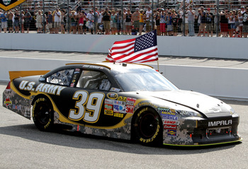 LOUDON, NH - JULY 17: Ryan Newman, driver of the #39 U.S. Army Chevrolet, celebrates after winning the NASCAR Sprint Cup Series LENOX Industrial Tools 301 at New Hampshire Motor Speedway on July 17, 2011 in Loudon, New Hampshire.  (Photo by Jerry Markland