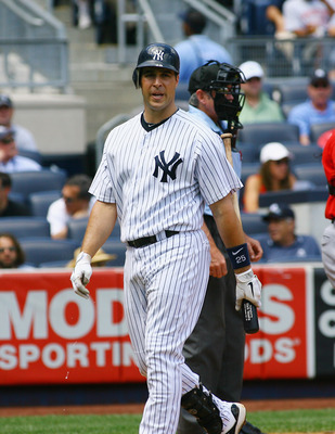 NEW YORK, NY - AUGUST 11: Mark Teixeira #25 of the New York Yankees reacts after striking out looking in the second inning against the Los Angeles Angels of Anaheim at Yankee Stadium on August 11, 2011 in the Bronx borough of New York City. The Yankees de