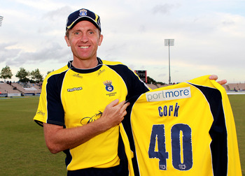 SOUTHAMPTON, ENGLAND - AUGUST 7 :   Dominic Cork of Hampshire celebrates his 40th birthday during the Friends Life T20 Quarter Final match between Hampshire and Durham at The Rose Bowl on August 7, 2011 in Southampton, England.  (Photo by Jan Kruger/Getty