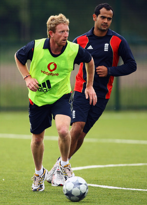 NOTTINGHAM, ENGLAND - JUNE 09:  Owais Shah and Paul Collingwood of England challenge for the ball during a game of football at Gresham Sports Park on June 9, 2009 in Nottingham, England.  (Photo by Matthew Lewis/Getty Images)