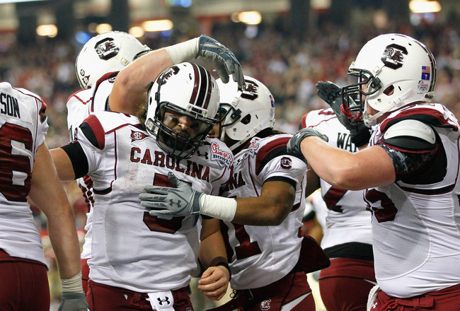 ATLANTA, GA - DECEMBER 31:  Stephen Garcia #5 of the South Carolina Gamecocks against the Florida State Seminoles during the 2010 Chick-fil-A Bowl at Georgia Dome on December 31, 2010 in Atlanta, Georgia.  (Photo by Kevin C. Cox/Getty Images)