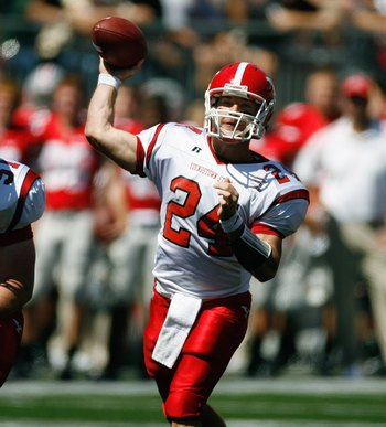 COLUMBUS, OH - SEPTEMBER 01: Tom Zetts #24 of the Youngstown State Penguins drops back to pass against the Ohio State Buckeyes on September 1, 2007 at Ohio Stadium in Columbus, Ohio.  The Buckeyes won 38-6. (Photo By Gregory Shamus/Getty Images)
