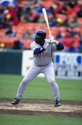 10 Apr 1999:  Tony Gwynn #19 of the San Diego Padres at bat during the game against the San Francisco Giants at the 3Com Park in San Francisco, California. The Padres defeated the Giants 11-1. Mandatory Credit: Jed Jacobsohn  /Allsport