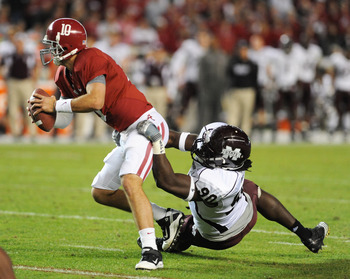 TUSCALOOSA, AL - NOVEMBER 13: Defensive lineman Pernell McPhee #90 of the Mississippi State Bulldogs sacks quarterback A. J. McCarron #10 of the Alabama Crimson Tide November 13, 2010 at Bryant-Denny Stadium in Tuscaloosa, Alabama.  (Photo by Al Messersch