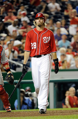 WASHINGTON, DC - AUGUST 20:  Jayson Werth #28 of the Washington Nationals walks to the dugout after striking out in the ninth inning against the Philadelphia Phillies at Nationals Park on August 20, 2011 in Washington, DC. Philadelphia won the game 5-0. (