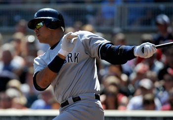 MINNEAPOLIS, MN - AUGUST 21: Alex Rodriguez #13 of the New York Yankees grounds out against the Minnesota Twins in the third inning on August 21, 2011 at Target Field in Minneapolis, Minnesota. (Photo by Hannah Foslien/Getty Images)