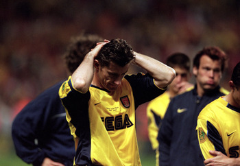 17 May 2000:  Davor Suker of Arsenal in despair after the UEFA Cup final against Galatasaray at the Parken Stadium in Copenhagen, Denmark.  The match finished 0-0 after extra-time, Galatasaray won 4-1 on penalties. \ Mandatory Credit: Phil Cole /Allsport