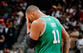 ATLANTA, GA - APRIL 01:  Glen Davis #11 of the Boston Celtics reacts after a missed basket against the Atlanta Hawks at Philips Arena on April 1, 2011 in Atlanta, Georgia.  NOTE TO USER: User expressly acknowledges and agrees that, by downloading and/or u