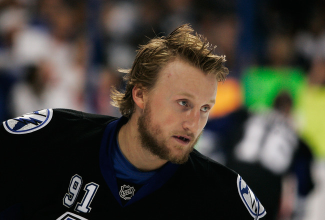 TAMPA, FL - MAY 25:  Steven Stamkos #91 of the Tampa Bay Lightning warms up prior to Game Six of the Eastern Conference Finals against the Boston Bruins during the 2011 NHL Stanley Cup Playoffs at St Pete Times Forum on May 25, 2011 in Tampa, Florida.  (P