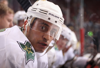 GLENDALE, AZ - MARCH 29:  Mike Ribeiro #63 of the Dallas Stars during the NHL game against the Phoenix Coyotes at Jobing.com Arena on March 29, 2011 in Glendale, Arizona. The Coyotes defeated the Stars 2-1 in an overtime shoot out.  (Photo by Christian Pe