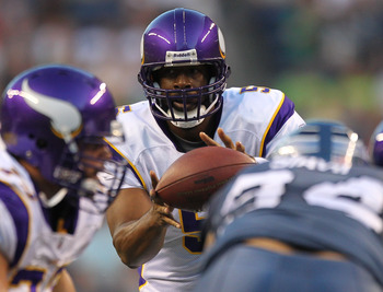 SEATTLE - AUGUST 20:  Quarterback Donovan McNabb #5 of the Minnesota Vikings takes the snap against the Seattle Seahawks at CenturyLink Field on August 20, 2011 in Seattle, Washington. The Vikings won 20-7. (Photo by Otto Greule Jr/Getty Images)