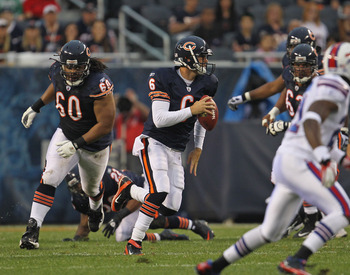 CHICAGO, IL - AUGUST 13:  Jay Cutler #6 of the Chicago Bears scrambles for a first down against the Buffalo Bills during a preseason game at Soldier Field on August 13, 2011 in Chicago, Illinois. The Bears defeated the Bills 10-3. (Photo by Jonathan Danie