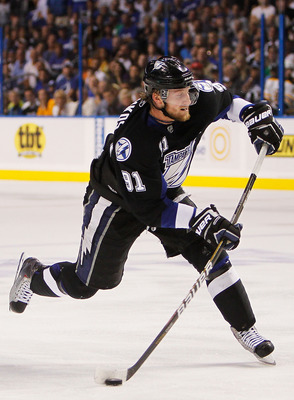 TAMPA, FL - MAY 19:  Steven Stamkos #91 of the Tampa Bay Lightning ahoots against the Boston Bruins in Game Three of the Eastern Conference Finals during the 2011 NHL Stanley Cup Playoffs at St Pete Times Forum on May 19, 2011 in Tampa, Florida.  (Photo b