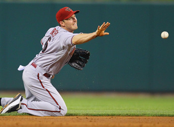 ST. LOUIS, MO - JULY 8:  Stephen Drew #6 of the Arizona Diamondbacks flips the ball to second base for a double play against the St. Louis Cardinals at Busch Stadium on July 8, 2011 in St. Louis, Missouri.  (Photo by Dilip Vishwanat/Getty Images)
