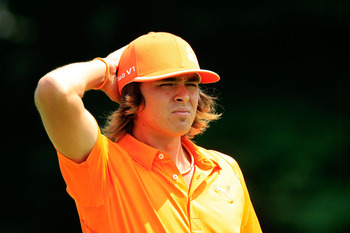 AKRON, OH - AUGUST 07:  Rickie Fowler looks on during the final round of the World Golf Championships-Bridgestone Invitational on the South Course at Firestone Country Club on August 7, 2011 in Akron, Ohio.  (Photo by Sam Greenwood/Getty Images)