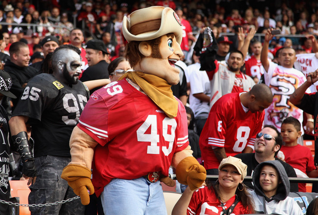 SAN FRANCISCO, CA - AUGUST 20:  The San Francisco 49ers mascot Sourdough Sam walks through the crowd during their game against the Oakland Raiders at Candlestick Park on August 20, 2011 in San Francisco, California.  (Photo by Ezra Shaw/Getty Images)