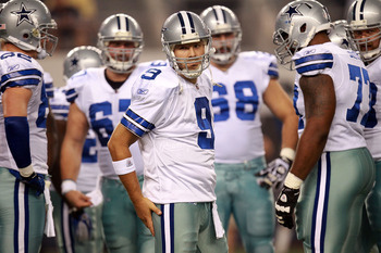 ARLINGTON, TX - AUGUST 11:  Tony Romo #9 of the Dallas Cowboys at Cowboys Stadium on August 11, 2011 in Arlington, Texas.  (Photo by Ronald Martinez/Getty Images)