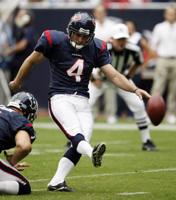 HOUSTON - SEPTEMBER 26:  Kicker Neil Rackers #4 of the Houston Texans connects on a 24 yard field goal in the second quarter against the Dallas Cowboys at Reliant Stadium on September 26, 2010 in Houston, Texas.  (Photo by Bob Levey/Getty Images)