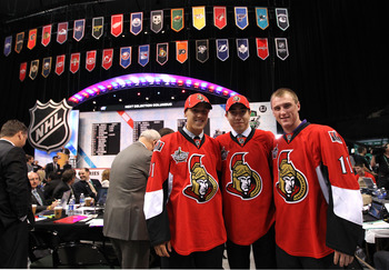 ST PAUL, MN - JUNE 25:  Draft picks Stefan Noesen, Mika Zibanejad and Fredrik Claesson of the Ottawa Senators pose during day two of the 2011 NHL Entry Draft at Xcel Energy Center on June 25, 2011 in St Paul, Minnesota.  (Photo by Bruce Bennett/Getty Imag