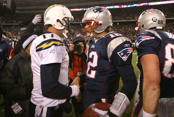 FOXBORO, MA - JANUARY 20:  Tom Brady #12 of the New England Patriots is congratulated by Philip Rivers #17 of the San Diego Chargers after the Patriots 21-12 win in the AFC Championship Game on January 20, 2008 at Gillette Stadium in Foxboro, Massachusett