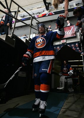 UNIONDALE, NY - APRIL 03:  Mark Streit #2 of the New York Islanders walks to the ice to play against the Ottawa Senators on April 3, 2010 at Nassau Coliseum in Uniondale, New York.  (Photo by Jim McIsaac/Getty Images)