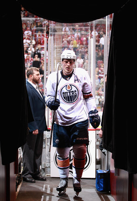GLENDALE, AZ - NOVEMBER 23:  Ales Hemsky #83 of the Edmonton Oilers walks off the ice after the end of the second period of the NHL game against the Phoenix Coyotes at Jobing.com Arena on November 23, 2010 in Glendale, Arizona.  (Photo by Christian Peters