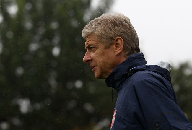 ST ALBANS, ENGLAND - AUGUST 23:  Arsene Wenger, manager of Arsenal arrives for a training session ahead of their UEFA Champions League Qualifying second leg match against Udinese at London Colney on August 23, 2011 in St Albans, England.  (Photo by Julian