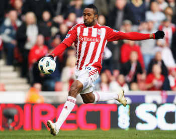 STOKE ON TRENT, ENGLAND - MARCH 19:  Ricardo Fuller of Stoke City in action during the Barclays Premier League match between Stoke City and Newcastle United at Britannia Stadium on March 19, 2011 in Stoke on Trent, England.  (Photo by Bryn Lennon/Getty Im