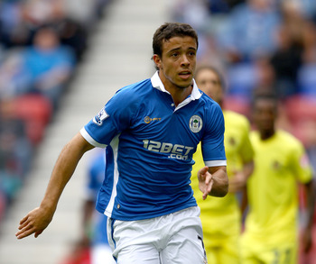 WIGAN, ENGLAND - AUGUST 07:  Franco Di Santo of Wigan Athletic in action during the pre season friendly match between Wigan Athletic and Villarreal   at DW Stadium on August 7, 2011 in Wigan, England.  (Photo by Clive Brunskill/Getty Images)
