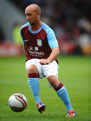 WALSALL, ENGLAND - JULY 21: Stephen Ireland of Aston Villa in action during a Pre Season Friendly between Walsall and Aston Villa at Banks' Stadium on July 21, 2011 in Walsall, England.  (Photo by Laurence Griffiths/Getty Images)