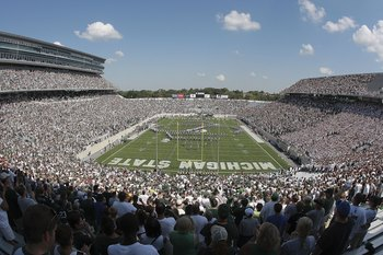 EAST LANSING, MI - SEPTEMBER 05: General view of Spartan Stadium during the first quarter as the Montana State Bobcats play the Michigan State Spartans on September 5, 2009 at Spartan Stadium in East Lansing, Michigan.  (Photo by Leon Halip/Getty Images)