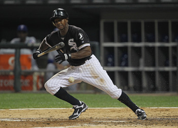 CHICAGO, IL - AUGUST 14: Juan Pierre #1 of the Chicago White Sox runs after executing a bunt against the Texas Rangers at U.S. Cellular Field on August 19, 2011 in Chicago, Illinois. (Photo by Jonathan Daniel/Getty Images)