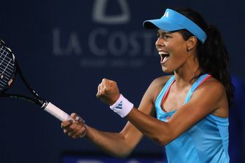 CARLSBAD, CA - AUGUST 06:  Ana Ivanovic of Serbia celebrates against Vera Zvonareva of Russia during the Mercury Insurance Open presented by Tri-City Medical at the La Costa Resort and Spa on August 6, 2011 in Carlsbad, California.  (Photo by Jeff Gross/G