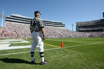 STATE COLLEGE, PA - SEPTEMBER 19: A Field Judge stands on the field during a game between the Temple Owls and the Penn State Nittany Lions on September 19, 2009 at Beaver Stadium in State College, Pennsylvania. (Photo by Hunter Martin/Getty Images)
