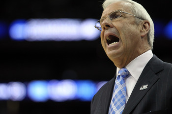 NEWARK, NJ - MARCH 27:  Head coach Roy Williams of the North Carolina Tar Heels looks on th game against the Kentucky Wildcats in the east regional final of the 2011 NCAA men's basketball tournament at Prudential Center on March 27, 2011 in Newark, New Je