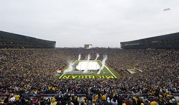 ANN ARBOR, MI - DECEMBER 11:  A general view of the Big Chill game between the Michigan State Spartans and Michigan Wolverines with an attendance of 113,441, the largest crowd to ever watch a hockey game, at Michigan Stadium on December 11, 2010 in Ann Ar