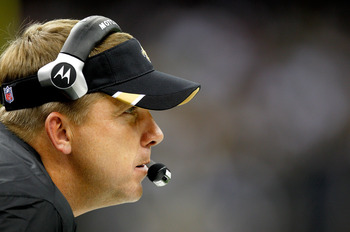 NEW ORLEANS, LA - AUGUST 12: Head coach Sean Payton of the New Orleans Saints looks on as his team plays the San Francisco 49ers during a preseason game at Louisiana Superdome on August 12, 2011 in New Orleans, Louisiana.  (Photo by Sean Gardner/Getty Ima