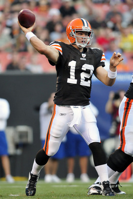 CLEVELAND, OH - AUGUST 19: Starting quarterback Colt McCoy #12 of the Cleveland Browns looks to pass during the first quarter against the Detroit Lions at Cleveland Browns Stadium on August 19, 2011 in Cleveland, Ohio. (Photo by Jason Miller/Getty Images)
