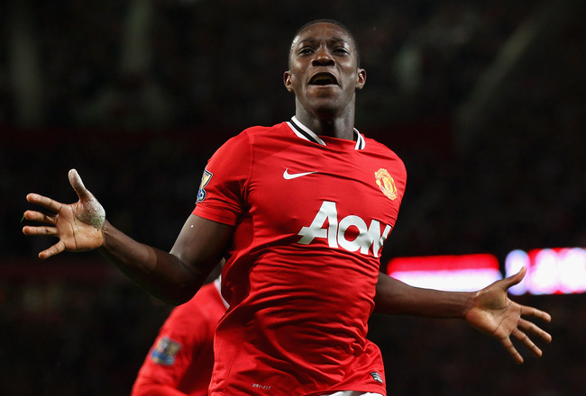 MANCHESTER, ENGLAND - AUGUST 22:  Danny Welbeck of Manchester United celebrates after scoring the opening goal during the Barclays Premier League match between Manchester United and Tottenham Hotspur at Old Trafford on August 22, 2011 in Manchester, Engla