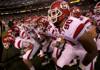 SAN DIEGO - NOVEMBER 20:  The Utah Utes get ready to take the field for the game with the San Diego State Aztecs at Qualcomm Stadium on November 20, 2010 in San Diego, California.  (Photo by Stephen Dunn/Getty Images)