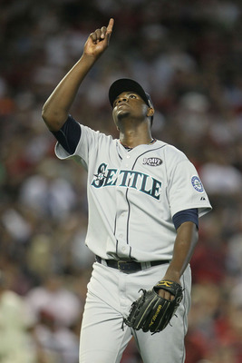 PHOENIX, AZ - JULY 12:  American League All-Star Michael Pineda #36 of the Seattle Mariners reacts in third inning of the 82nd MLB All-Star Game at Chase Field on July 12, 2011 in Phoenix, Arizona.  (Photo by Jeff Gross/Getty Images)