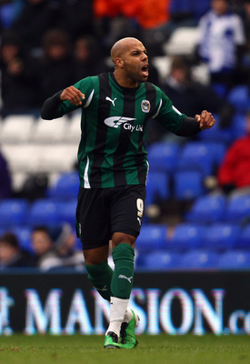 BIRMINGHAM, ENGLAND - JANUARY 29:  Marlon King of Coventry celebrates scoring the opening goal during the FA Cup Sponsored by E.ON 4th Round match between Birmingham City and Coventry City at St Andrews on January 29, 2011 in Birmingham, England.  (Photo