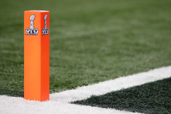ARLINGTON, TX - FEBRUARY 06:  A pylon sits in the endzone before Super Bowl XLV between the Pittsburgh Steelers and the Green Bay Packers at Cowboys Stadium on February 6, 2011 in Arlington, Texas.  (Photo by Doug Pensinger/Getty Images)