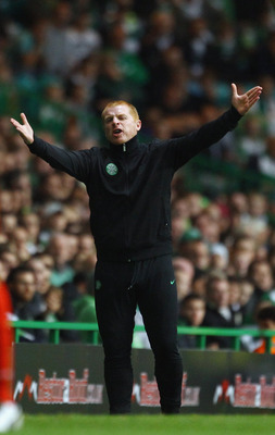 GLASGOW, SCOTLAND - AUGUST 18:  Neil Lennon, coach of Celtic, gestures during the UEFA Europa League qualifying round, first leg match between Celtic and FC Sion at Celtic Park on August 18, 2011 in Glasgow, Scotland.  (Photo by Jeff J Mitchell/Getty Imag