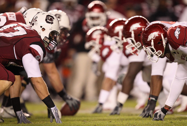 COLUMBIA, SC - NOVEMBER 06:  A general view of the Arkansas Razorbacks against the South Carolina Gamecocks during their game at Williams-Brice Stadium on November 6, 2010 in Columbia, South Carolina.  (Photo by Streeter Lecka/Getty Images)