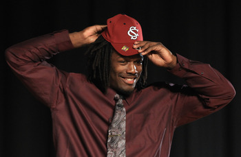 ROCK HILL, SC - FEBRUARY 14:  Jadeveon Clowney announces his college football commitment to the University of South Carolina Gamecocks during a press conference at South Pointe High School on February 14, 2011 in Rock Hill, South Carolina.  (Photo by Stre