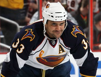 PHILADELPHIA, PA - MARCH 12:  Dustin Byfuglien #33 of the Atlanta Thrashers skates against the Philadelphia Flyers on March 12, 2011 at Wells Fargo Center in Philadelphia, Pennsylvania.  (Photo by Jim McIsaac/Getty Images)