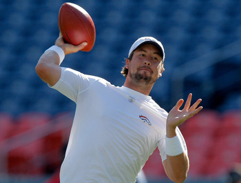 Kyle Orton, showing off the arm that's helped him keep his job in Denver